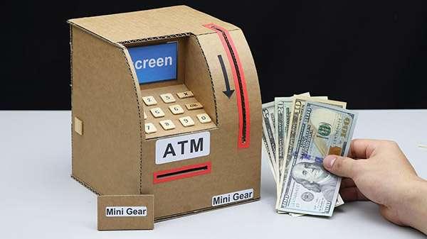 How to Make ATM Machine from Cardboard via Mini Gear