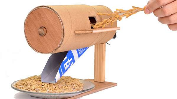 How to Make a Mini Rice Thresher from Paper Roll at Home (Video)