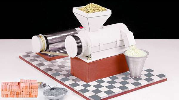 How to Build a Mini Rice Milling Machine with Bricks and Cement (Video)
