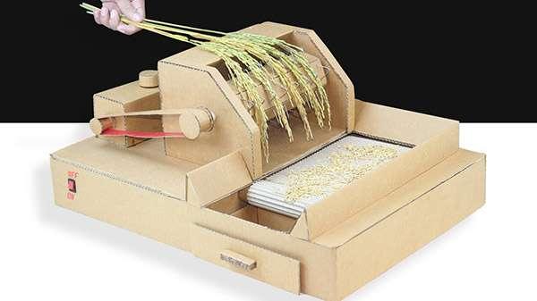 How To Make Mini Rice Thresher Machine Using Cardboard (Video)