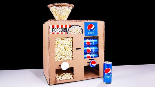 How to Make Popcorn and Soda Vending Machine from Cardboard